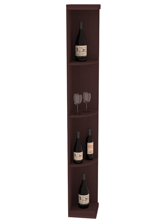 Quarter Round Wine Display in Redwood with Walnut Stain - Highly decorative Quarter Round Wine Displays are the perfect solution to racking around corners. Designed with a priority on functionality, these wine storage units are excellent as end caps to walls of wine racking or as standalone shelving.