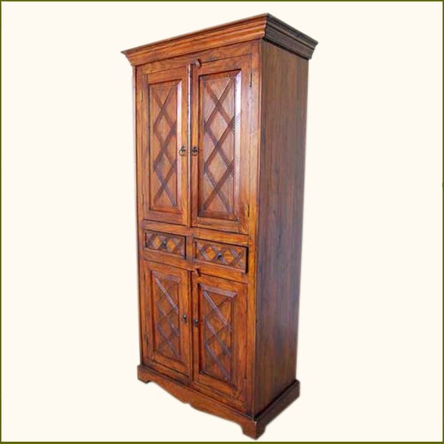 Rustic Wood 2 Storage Drawers Cupboard Wardrobe Armoire armoires-and-wardrobes
