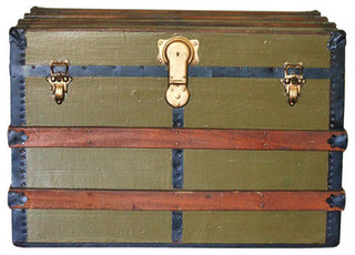 Antique Wooden Olive Green Steamer Trunk - Eclectic ...