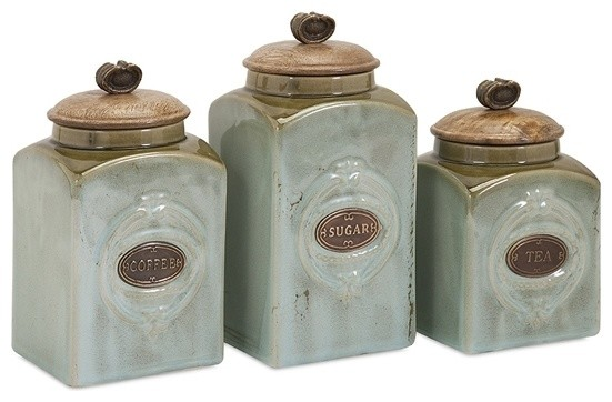 Coffee Sugar Tea Retro Blue Ceramic Canisters Set Of 3