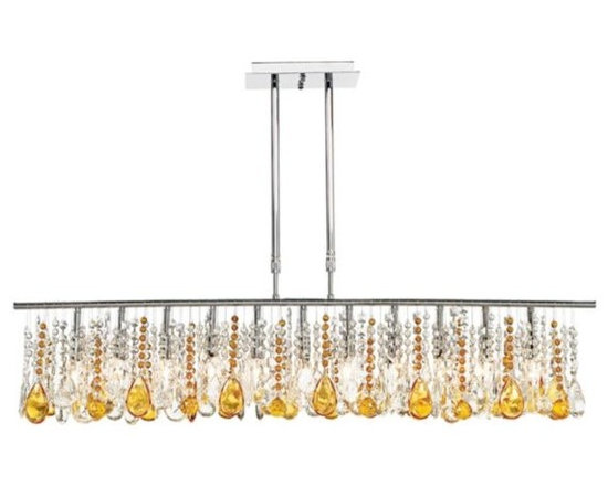 Clear and Amber 48-Inch-W Luminous Crystal Chandelier -