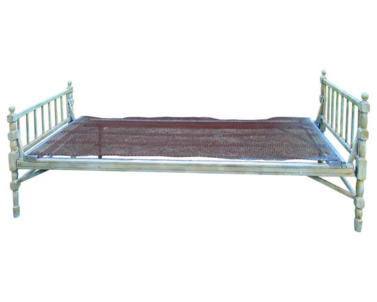 Antique Folding Bed - Late 1800's folding day bed with metal springs that are attached to the bed. Add a piece of plywood and your favorite mattress and enjoy a summer breeze on the back porch.