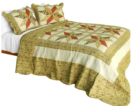 Blancho Bedding - Star in My HeartCotton 3PC Vermicelli-Quilted Patchwork Quilt Set  Full/Queen - Set includes a quilt and two quilted shams (one in twin set). Shell and fill are 100% cotton. For convenience, all bedding components are machine washable on cold in the gentle cycle and can be dried on low heat and will last you years. Intricate vermicelli quilting provides a rich surface texture. This vermicelli-quilted quilt set will refresh your bedroom decor instantly, create a cozy and inviting atmosphere and is sure to transform the look of your bedroom or guest room. Dimensions: Full/Queen quilt: 90 inches x 98 inches  Standard sham: 20 inches x 26 inches.