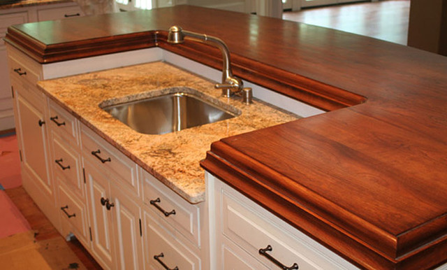 Cherry Wood Counter By Grothouse Traditional Kitchen