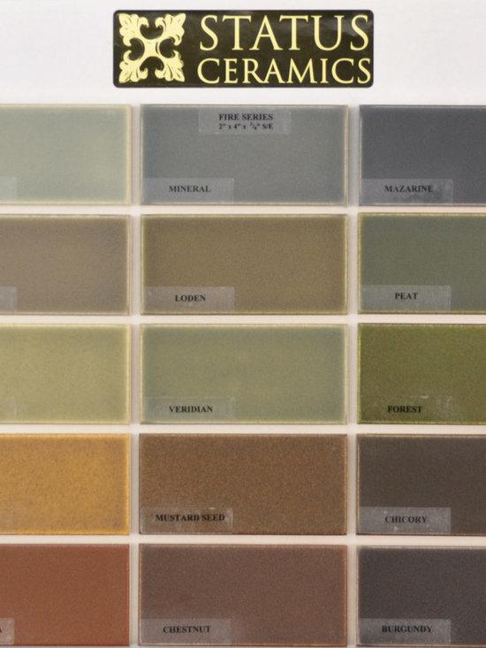 glaze colors - Status 2x4 Fire glaze color palette.  Field tile come in 2x2,2x4,2x6,2x8,3x6,6x6,4x4,4x8,8x8