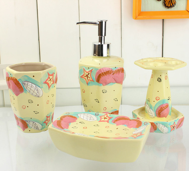 Lovely seaside pattern ceramic naples yellow bath for Bathroom accessories yellow