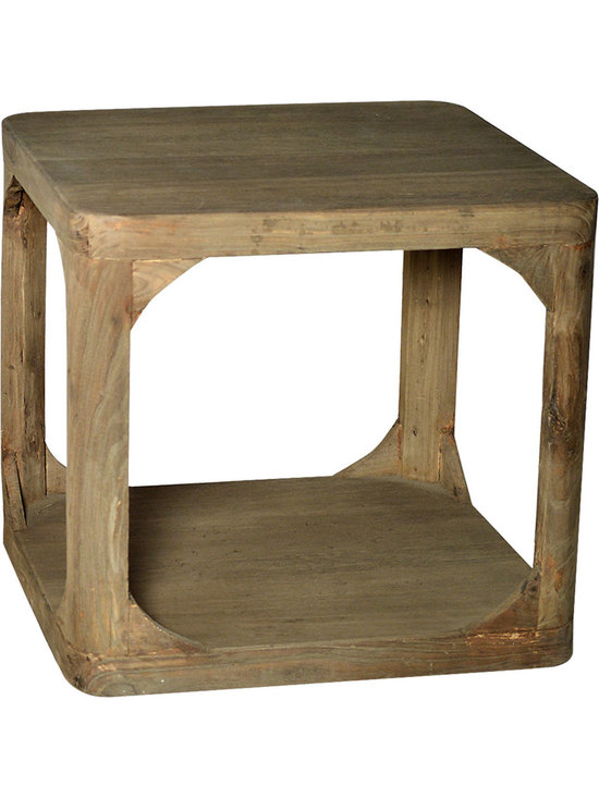 Boston End Table - The Boston end table is a rustic cube with curved edges and supports at its sides. Create a distressed country cabin look with the lightly distressed finish that looks as though the wood has been left untreated for generations. The footless design features one open shelf - perfect for displaying a few treasured books. This end table is just large enough for a lamp and vase of flowers and lends rustic country charm to your home.