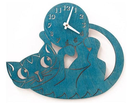 Turquoise Kitten Wall Clock -