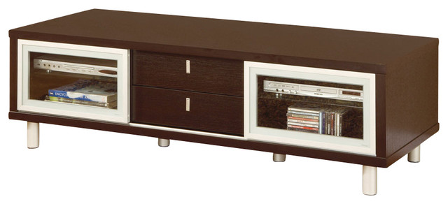 Global Furniture USA M720TV 2-Drawer TV Cabinet in Wenge with Silver traditional-entertainment-centers-and-tv-stands