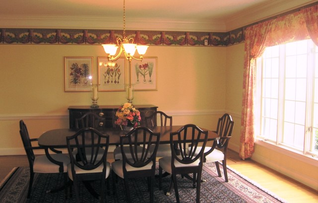 Formal dining room window treatment traditional dc for Best wallpapers for dining rooms