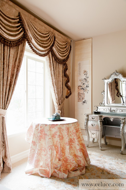 Baroque floral valance curtains with swags and tails by for Traditional curtains for living room