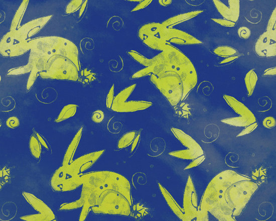 Chartreuse Rabbit Designer Fabric - Whimsical rabbits, leaves, dots and swirls on tone on tone to mix & match. Perfect for tabletop, bedding, curtains, children's and more.