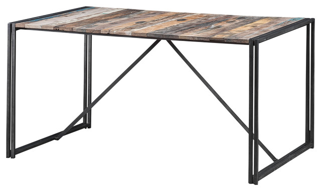 """Dining Table Made of Iron and Recycled Wood from Old Fishing Boats, 60"""" L X 40"""" industrial-dining-tables"""