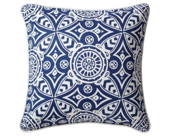 Serena & Lily - Catalina Euro Sham - Catalina's fabulous medallion scarf print is an original design by Serena, first featured in her early block-printed pillow collection. Euro sham in navy medallion print with white sateen piping.