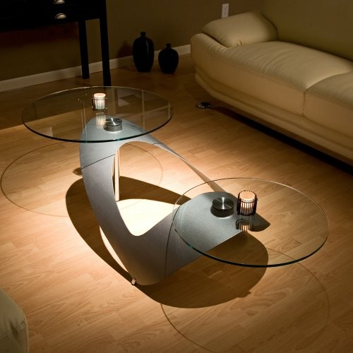 Round Glass Motion Coffee Table With Arched Base Contemporary Coffee Tables By Hayneedle