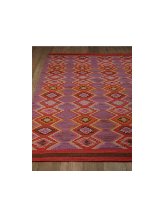 "Dash & Albert Rug Company - Dash & Albert Rug Company ""Pueblo"" Rug - A tribal-inspired diamond design in bold colors marches across this fine rug, adding the allure of the Southwest to your home. Handwoven of wool/cotton blend. Size is approximate. Imported."
