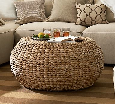Round Woven Seagrass Coffee Table Traditional Coffee Tables By Pottery Barn
