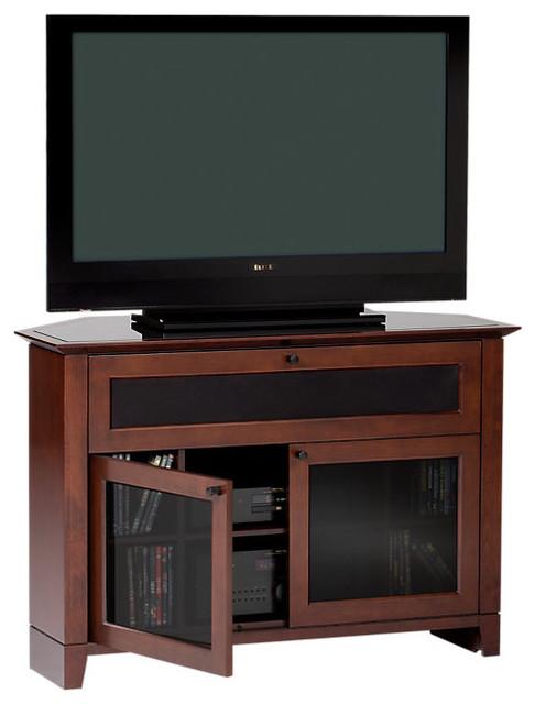 Novia Corner TV Stand, Single Wide, Cocoa contemporary-entertainment-centers-and-tv-stands