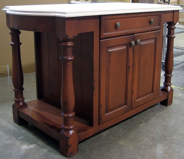 6 Ft Wide Country Kitchen Island W 1 Large Drawer Cabinet Thyme Traditional Kitchen Islands