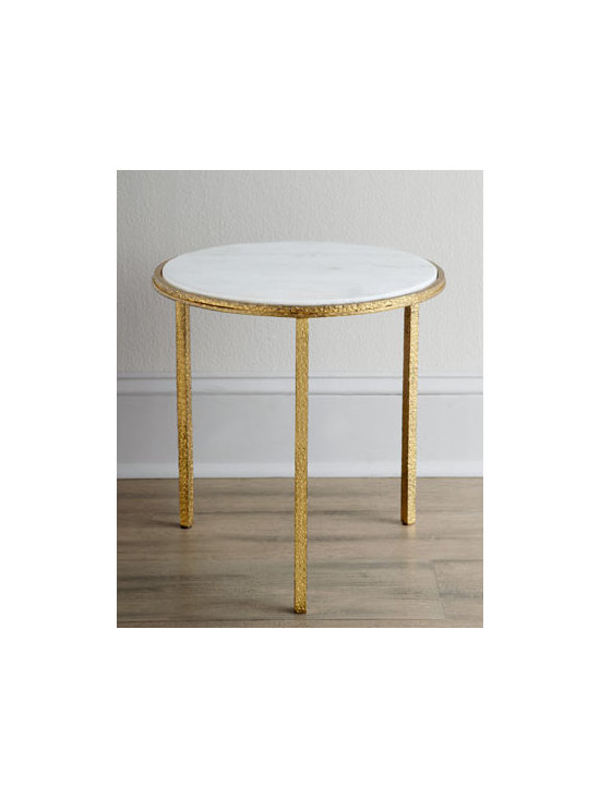 """Global Views - Global Views """"Celinda"""" Side Table - Round side table is painted in gold, then enhanced with a marble top for dramatic effect. Made of iron. 16.5""""Dia. x 16""""T. Imported. Boxed weight, approximately 32.5 lbs. Please note that this item may require additional delivery and processing cha..."""