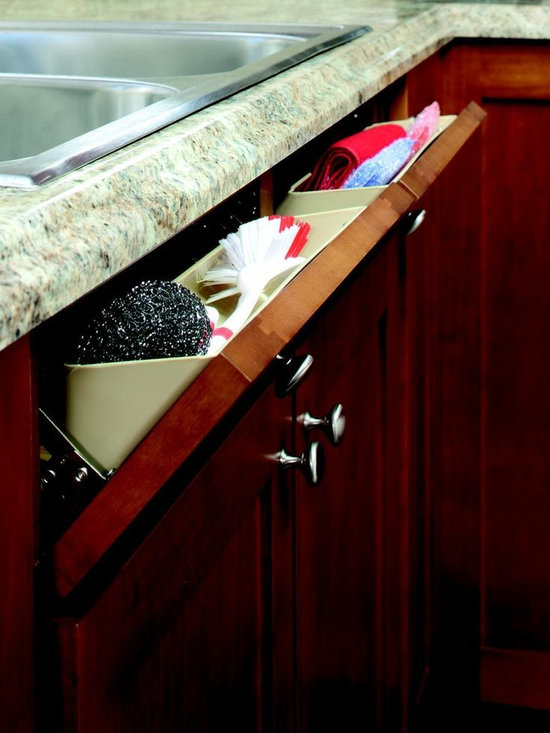 Tip Out Tray - The tip out tray from ShelfGenie of Connecticut in installed in front of the sink where typically there is only a false front.  Store sponges, scrubbing brushes and scouring pads out of sight, but ready to use when you need them.