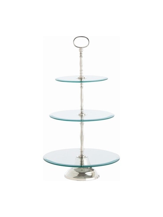 Arteriors Sabrina 3 Tier Glass/Polished Nickel Dessert Stand - Sabrina 3 Tier Glass/Polished Nickel Dessert Stand