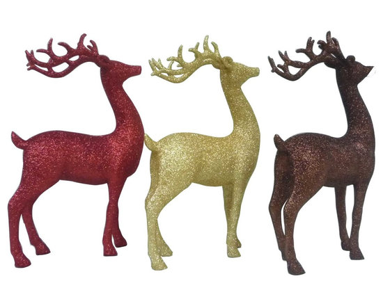 Martha Stewart Living 11.75 Inch Polyresin Glittered Deer-Red, Gold and Brown -