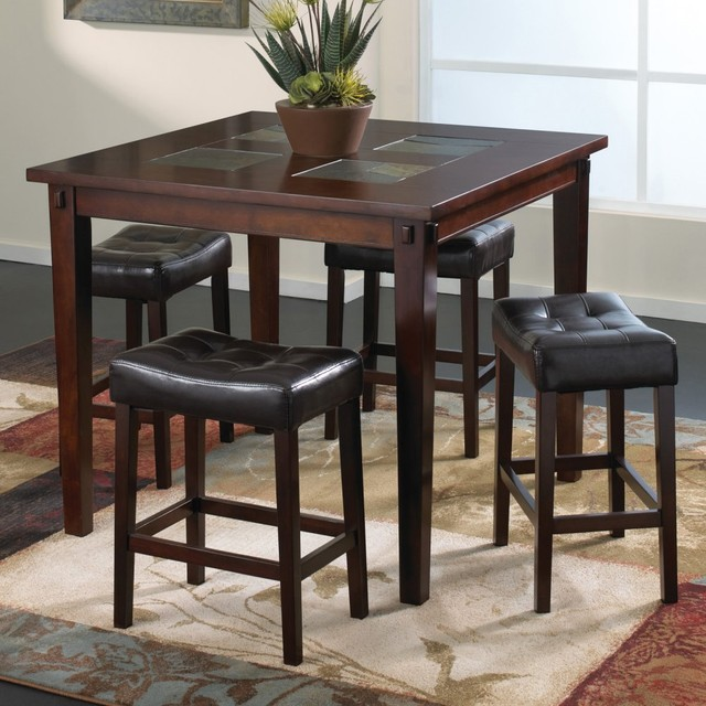 Welton Deland 5 Piece Transitional Counter Height Dining Set Espresso Mod