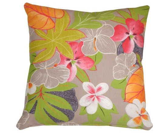 Pillow Decor - Pillow Decor - Hawaii Garden Floral Throw Pillow - With all the vibrancy of a tropical garden, this gorgeous floral throw pillow will bring warmth and sunshine to your home. Try it in a bedroom, sunroom, veranda or any location that needs a splash of tropical color.
