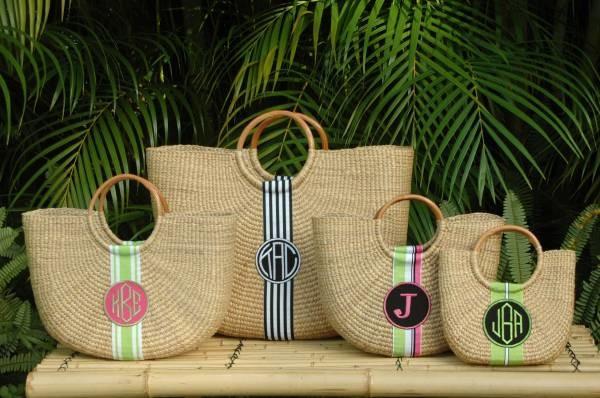 Monogrammed Half-Moon Baskets contemporary-baskets