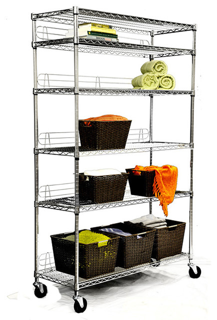 TRINITY NSF 6-tier Chrome Wire Shelving Rack - Contemporary - Utility Shelves - by Overstock.com