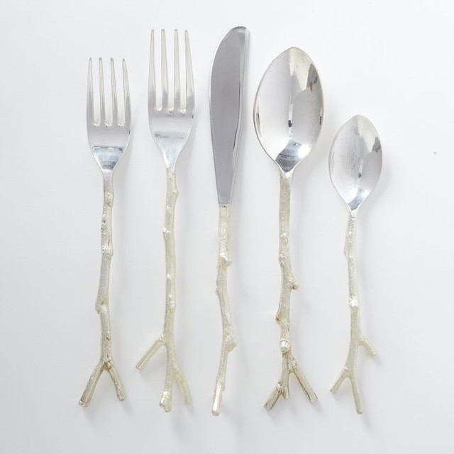 Twig Flatware 5-Piece Set, Silver eclectic flatware