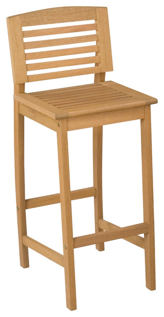 Home Styles Bali Hai Natural Teak Outdoor Bar Stool contemporary-outdoor-stools-and-benches