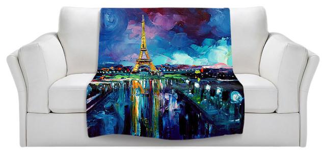 Throw Blanket Fleece - Parisian Night Eiffel Tower contemporary-throws