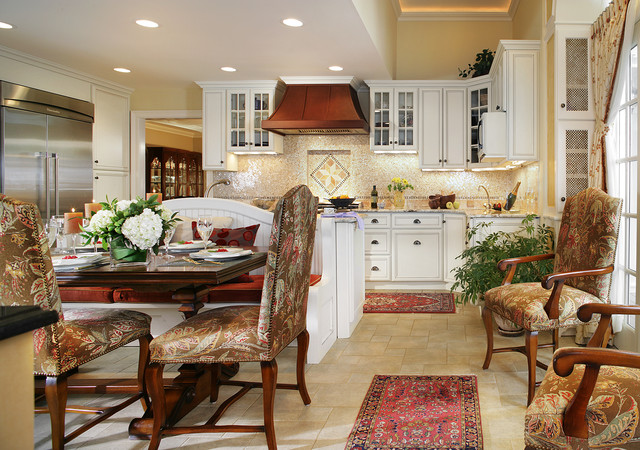 White kitchen with walnut table and banquette for family of four