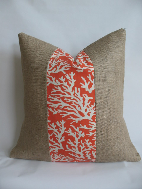 Orange Coral Outdoor Fabric and Burlap Pillow Cover - Traditional - Decorative Pillows - raleigh ...
