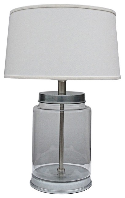 Truro fillable clear glass jar table lamp contemporary for Glass jar floor lamp