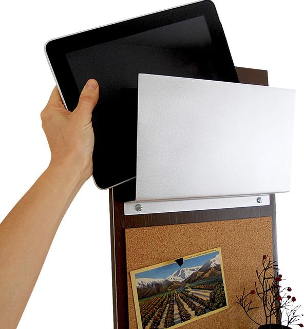 Ipad iphone storage bulletin board message center modern for Modern cork board