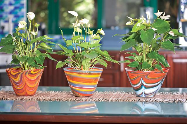 Handmade glass flower pots traditional-home-decor