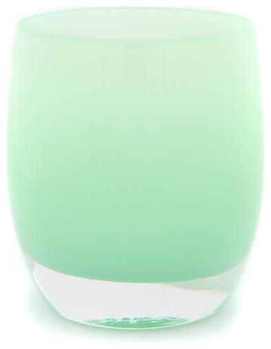 'Merci' Soft Pastel Sage Green Candleholder contemporary-candleholders