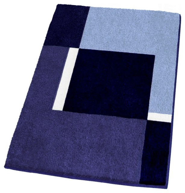 Contemporary Machine Washable Blue Bathroom Rugs Extra