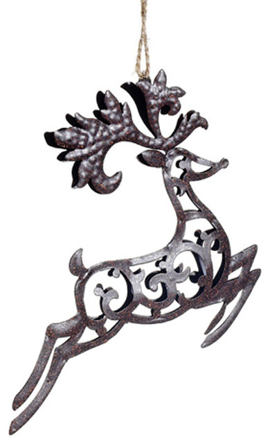 Metal Reindeer Ornament - Rustic - Christmas Ornaments - atlanta - by Iron Accents