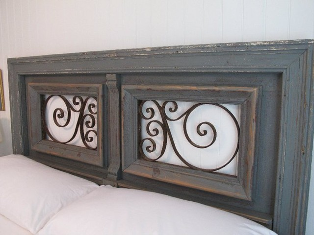 Original headboard designed from antique architectural elements eclectic-headboards