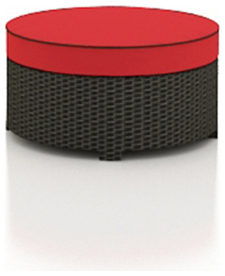 Barbados Round Outdoor Wicker Ottoman, Flagship Ruby Cushion modern-outdoor-chairs