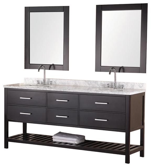 "Design Element London 72"" Single Sink Vanity Set w/ Open Bottom - Espresso contemporary-bathroom-vanities-and-sink-consoles"