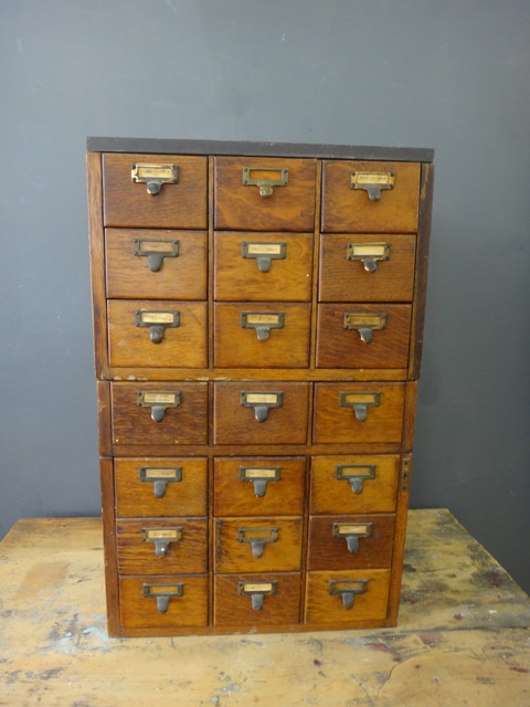 Antique Library Catalog Drawers eclectic-storage-and-organization