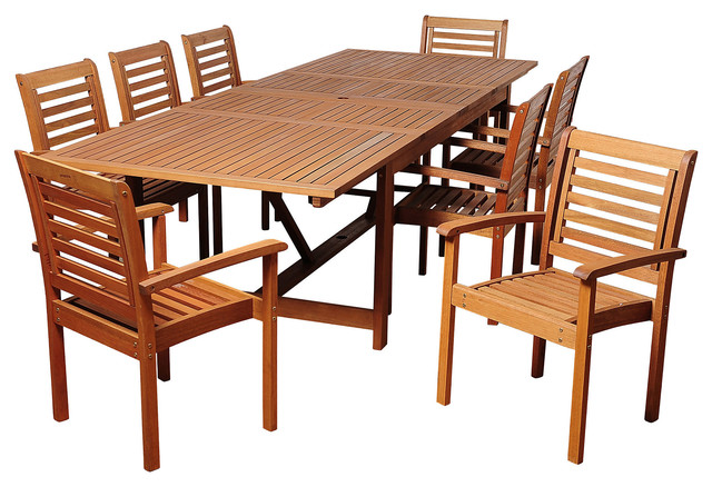 trisha 9 pc extendable dining set contemporary outdoor