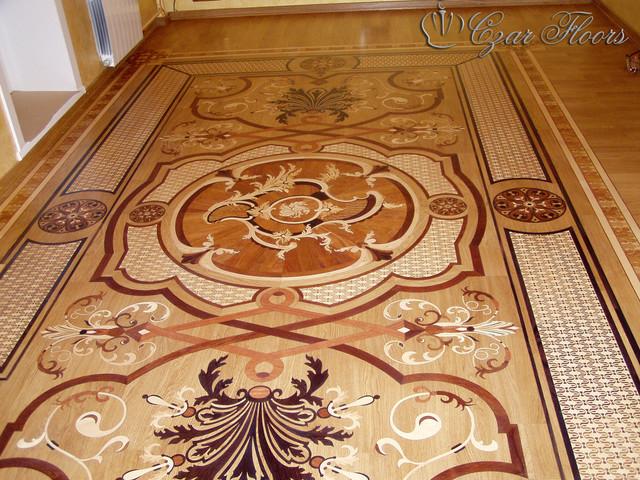 Custom wood rug inlay for Hardwood floor inlay designs