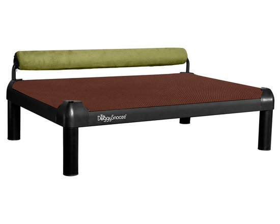 DoggySnooze - snoozeSleeper, Anodized Frame, Memory Foam Long, 1 Bolster Grn - It's a dog's life for pooches who get to snooze on this contemporary dog bed. Elevated for comfort with a sturdy bolster for support, this bed comes in a selection of colors to complement your home or office decor. Made in the USA and available in three sizes, with optional black anodized frame, long legs and memory foam.