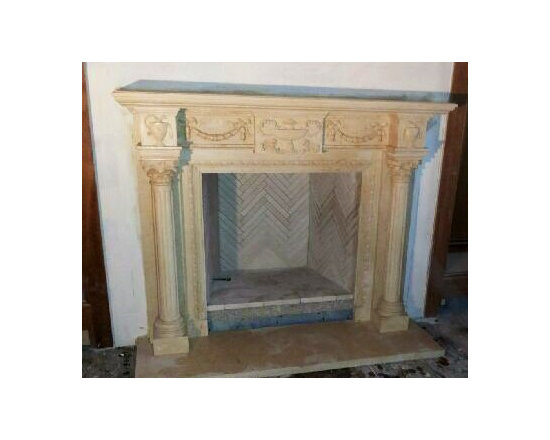 Installations - Hand carved mantle in Egyptian crème marble- Houston